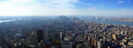 Aerial panoramic view over lower Manhattan, New York Royalty Free Stock Images