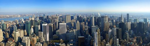 Aerial panoramic view over Manhattan, New York royalty free stock image