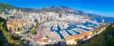 Aerial panoramic view over Monaco city stock photos