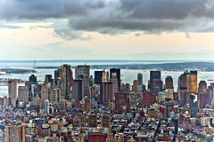 Aerial panoramic view over upper Manhattan from Empire State bui Royalty Free Stock Photos