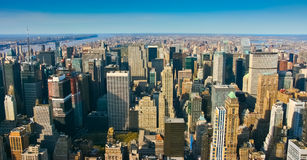 Aerial panoramic view over upper Manhattan Royalty Free Stock Image