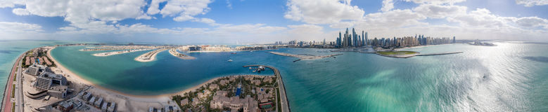Aerial panoramic view of Palm Jumeirah Island and Marina, Dubai Stock Images