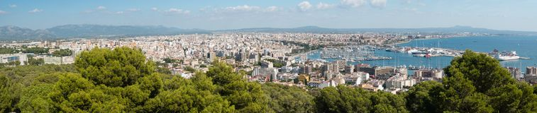 Aerial Panoramic view of Palma de Mallorca royalty free stock photo