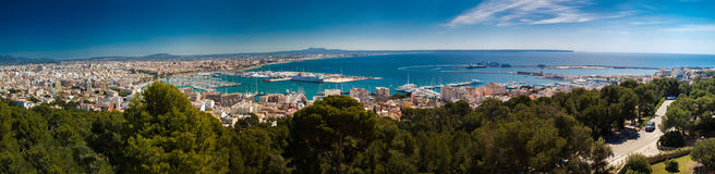 Aerial panoramic view of Palma de Mallorca. Aerial panoramic view on the port, historic center and modern districts of Palma de Mallorca, Spain stock images