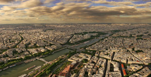 Aerial panoramic view on Paris. Royalty Free Stock Photography