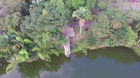 Aerial panoramic view of the park with lake