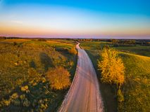 Aerial view of path at Autumn, Lithuania royalty free stock photography