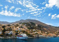 Aerial panoramic view of the pictorial old port  Symi island in Greece Stock Photography