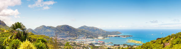 Aerial Panoramic view of port an down town Victoria, Mahe, capital of Seychelles Royalty Free Stock Photo