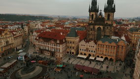 Aerial Panoramic View of Prague Featuring the Old Town Square in Prague, Czech Republic (Czechia). PRAGUE, CZECH REPUBLIC CZECHIA, 12 MAR 2016 - Wide-angle stock footage