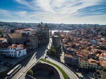 Aerial panoramic view of Ribeira - the old town of Porto, Portugal. 2016 09 Royalty Free Stock Photography