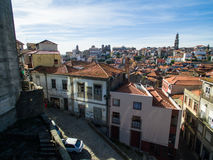 Aerial panoramic view of Ribeira - the old town of Porto, Portugal. 2016 09 Stock Photo