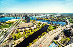 Aerial panoramic view of Riga city royalty free stock photography
