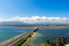 Aerial panoramic view of the road and the bridge. Stock Photos