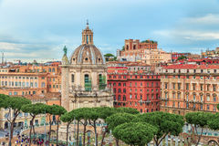 Aerial panoramic view on the Roman Triumphal Trajan's Column (Colonna Traiana) Stock Image