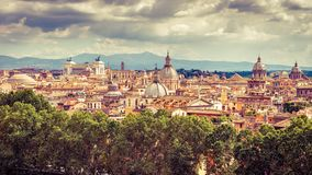 Aerial panoramic view of Rome in summer, Italy stock images