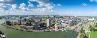Aerial panoramic view of Rotterdam harbor Stock Image