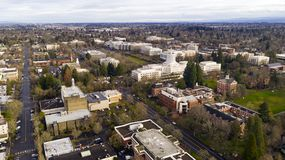 Aerial Panoramic View Salem Oregons State Capital City royalty free stock images