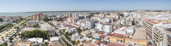 Aerial panoramic view of Sanlucar de Barrameda, Cadiz, Spain Royalty Free Stock Photography
