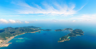Aerial panoramic view of the sea harbor among the islands. Stock Image