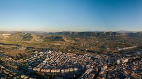 Aerial panoramic view of small town Canals in Spain royalty free stock photo