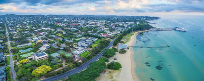 Aerial panoramic view of Sorrento Long Pier, moored passenger fe Royalty Free Stock Images