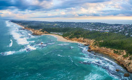 Aerial panoramic view of Sorrento Ocean Beach and beautiful coas. Tline in the morning. Mornington Peninsula, Melbourne, Australia Royalty Free Stock Photography