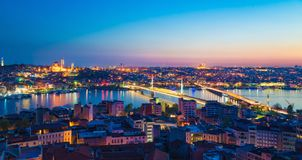 Aerial panoramic view of sunset Istanbul, Turkey Stock Photos