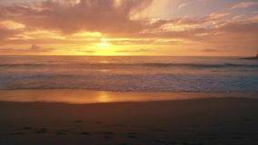 Aerial panoramic view of sunset over atlantic ocean. Aerial panoramic view of sunset over ocean stock footage