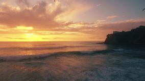 Aerial panoramic view of sunset over atlantic ocean. Aerial panoramic view of sunset over ocean stock video footage