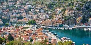 Aerial panoramic view of Symi, Dodecanese island, Greece. Aerial panoramic view of Symi, Dodecanese island Greece Stock Photography