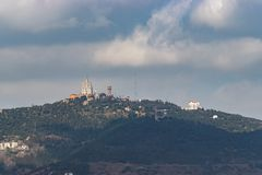 Aerial panoramic view of Tibidabo hill in Barcelona city stock images