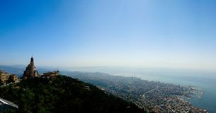 Aerial panoramic view to Basilica of Saint Paul near Harissa mount at Lebanon and Jounieh city and bay at Lebanon royalty free stock photography