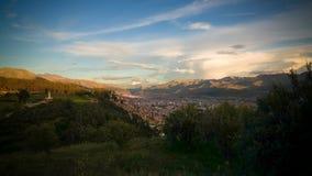 Aerial panoramic view to Cuzco city , Peru stock image