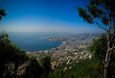 Aerial panoramic view to Jounieh city and bay, Lebanon Stock Photos