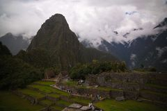 Aerial Panoramic view to Machu Picchu archaeological site and Huayna Picchu mountain , Cuzco, Peru Stock Photos
