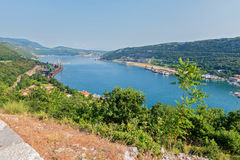 Aerial panoramic view to the seaport in Croatia Royalty Free Stock Image