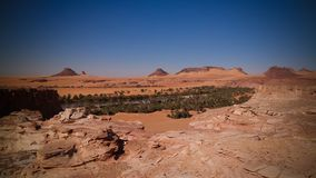 Panoramic view to Teguedei lake at the Ennedi, Chad. Aerial Panoramic view to Teguedei lake , Ennedi, Chad royalty free stock photography