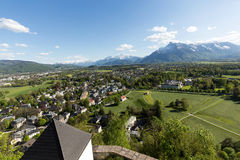 Aerial panoramic view from the top of Hohensalzburg fortress Castle on Alps. Salzburg, Royalty Free Stock Photos