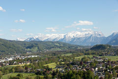Aerial panoramic view from the top of Hohensalzburg fortress Castle on Alps. Salzburg, Royalty Free Stock Photo