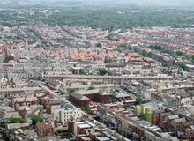 Aerial panoramic view of the town of blackpool looking east showing the streets and roads of the town with lancashire countryside. Stretching to the horizon stock image