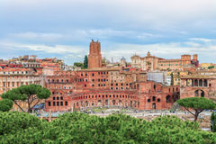 Aerial panoramic view on Trajan's Market (Mercati Traianei on the Via dei Fori Imperiali ). From Altar of the Fatherland. Market is part of ancient Rome Forum Stock Photos