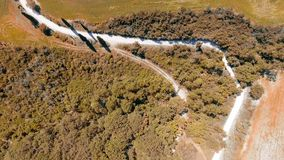 Aerial panoramic view of Tuscany winding road, Italy.  royalty free stock photography