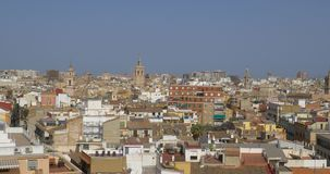 Aerial Panoramic View Of Valencia City. In Spain stock footage