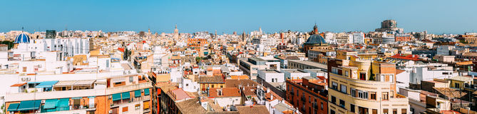 Aerial Panoramic View Of Valencia City Royalty Free Stock Photos
