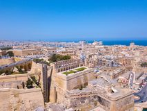 Aerial panoramic view of the Valletta old town on Malta. Beautiful ancient city Royalty Free Stock Photo