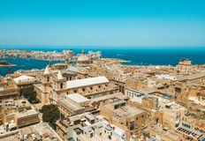 Aerial panoramic view of the Valletta old town on Malta. Beautiful ancient city Royalty Free Stock Photos
