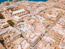 Aerial panoramic view of the Valletta old town on Malta. Beautiful ancient city Royalty Free Stock Images