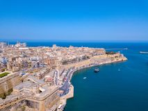 Aerial panoramic view of the Valletta old town on Malta. Beautiful ancient city Stock Image