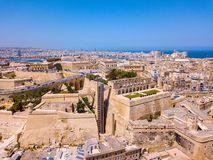 Aerial panoramic view of the Valletta old town on Malta. Beautiful ancient city Stock Photography
